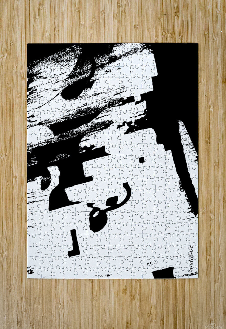 Black & White Form Texture Art D3200 1267  HD Metal print with Floating Frame on Back