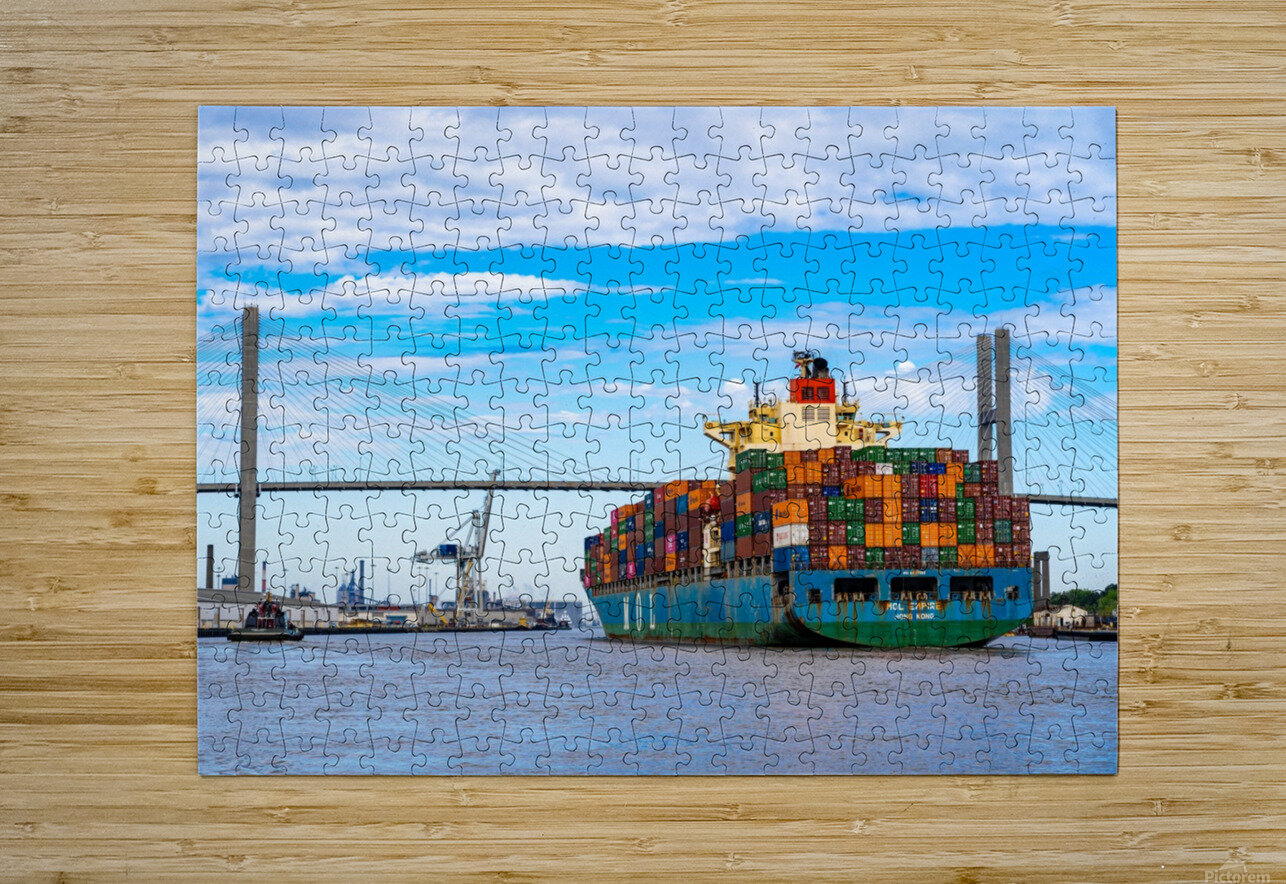 Cargo Ship on the Savannah River 04044  HD Metal print with Floating Frame on Back