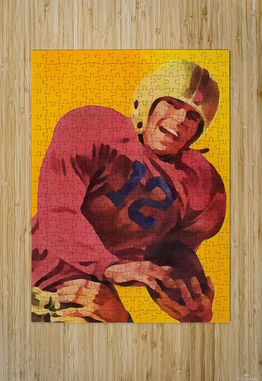 Vintage Football Poster_Football Prints Wall Art Posters  HD Metal print with Floating Frame on Back