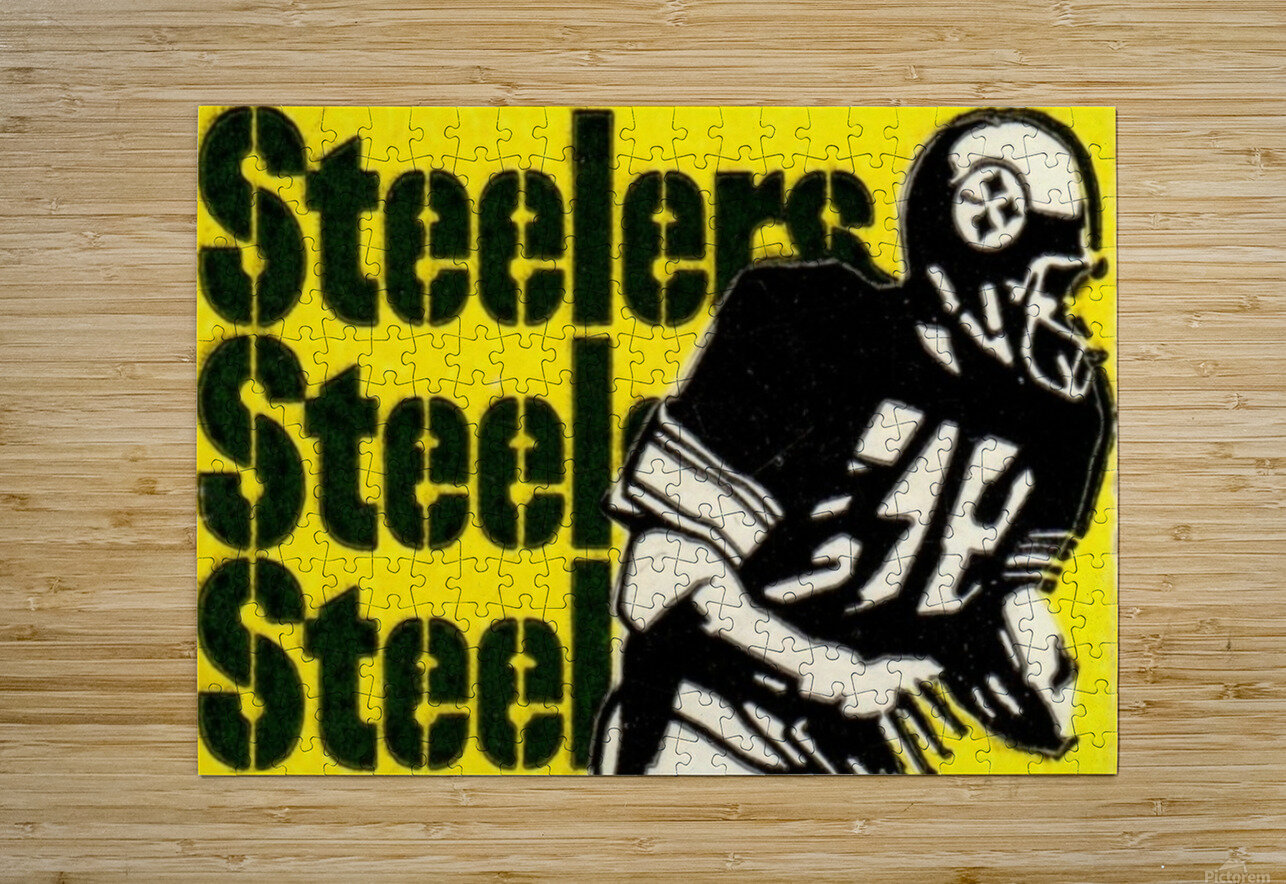 Vintage Pittsburgh Steelers Football Art Reproduction  HD Metal print with Floating Frame on Back