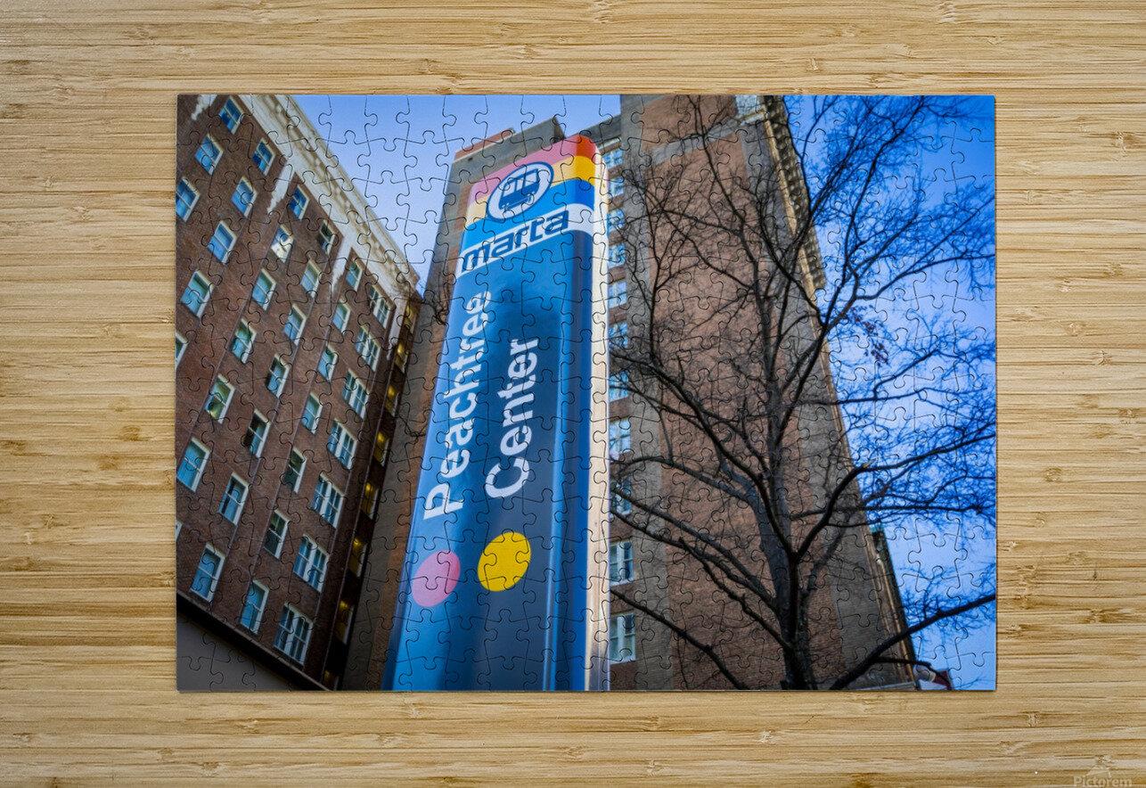 Marta Peachtree Center Sign   Atlanta GA 1823  HD Metal print with Floating Frame on Back
