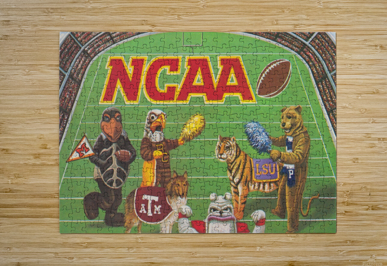 1984 NCAA Football Ad Reproduction_Vintage Sports Ads_Retro Sports Advertisement  HD Metal print with Floating Frame on Back