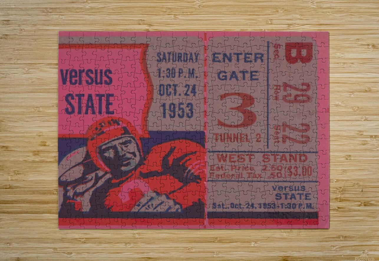 Vintage Football Ticket Stub Art   HD Metal print with Floating Frame on Back