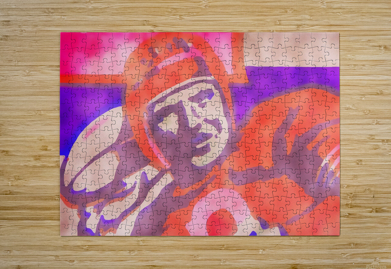 Vintage Quarterback Football Art_Watercolor Style Sports Art Print  HD Metal print with Floating Frame on Back