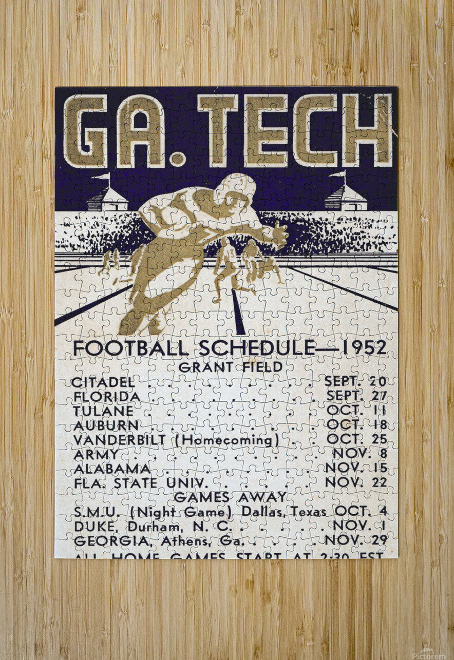 Vintage Football Schedules_College Football Schedule_1952 Georgia Tech Yellow Jackets_Schedule Art  HD Metal print with Floating Frame on Back