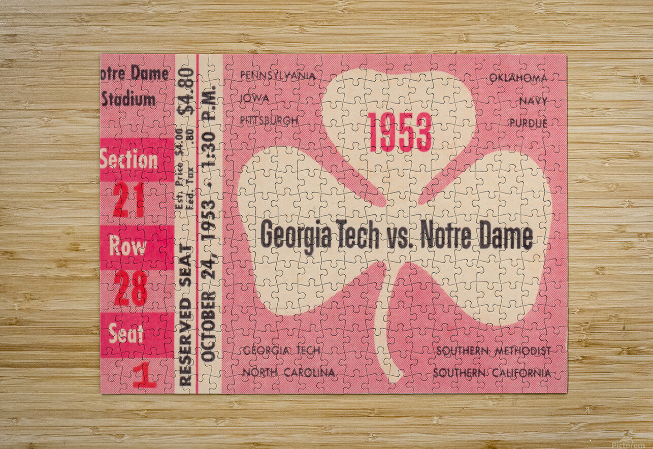 1953_College_Football_Notre Dame vs. Georgia Tech_Notre Dame Stadium_College Ticket Collection Art (1)  HD Metal print with Floating Frame on Back