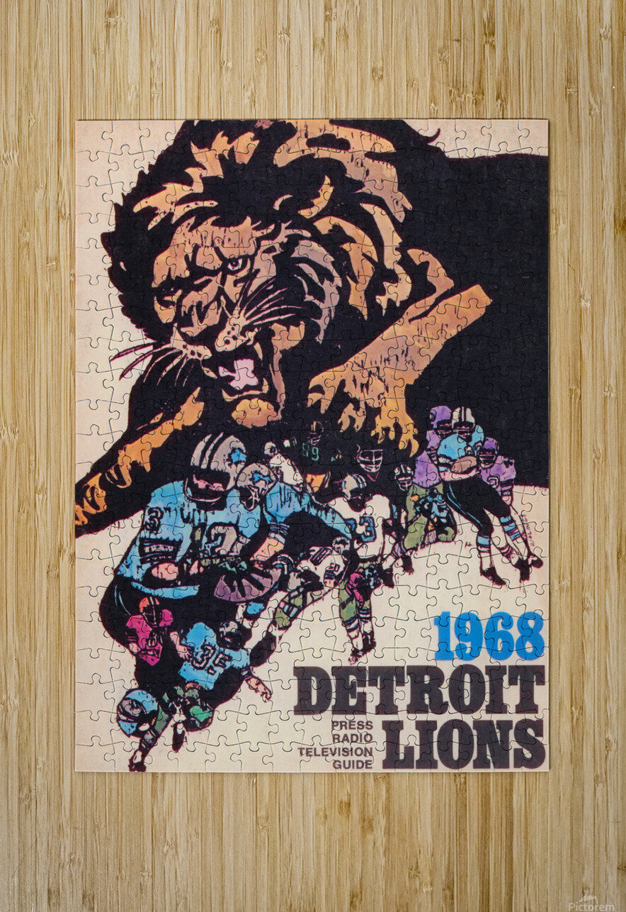 1968 Detroit Lions NFL Press Guide Reproduction Art_Detroit Michigan Gift Ideas  HD Metal print with Floating Frame on Back