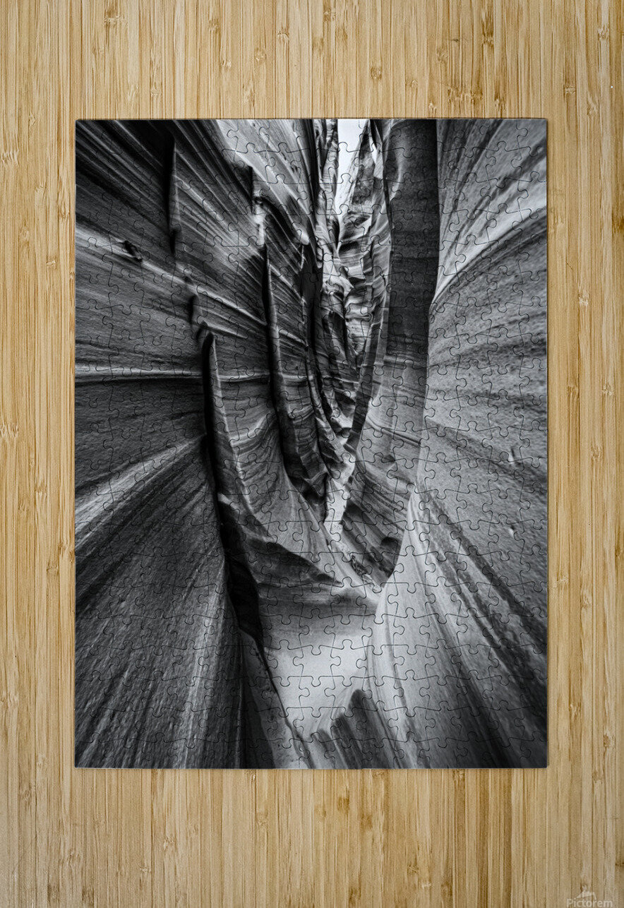 B&W Zebra Slot Canyon II  HD Metal print with Floating Frame on Back