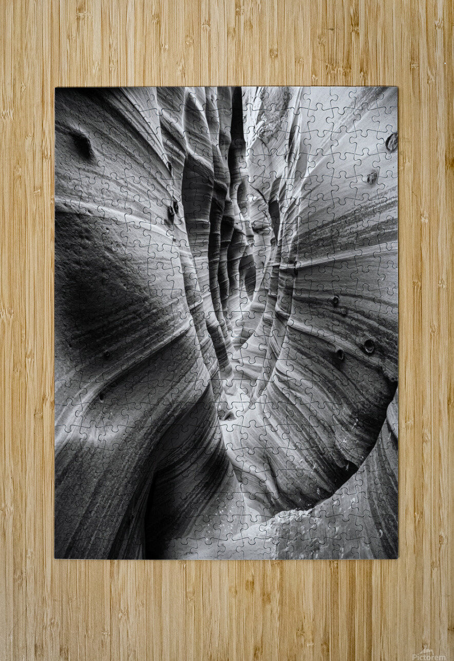 B&W Zebra Slot Canyon I  HD Metal print with Floating Frame on Back