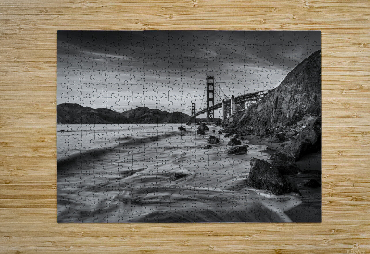 B&W Golden Gate Sunset  HD Metal print with Floating Frame on Back
