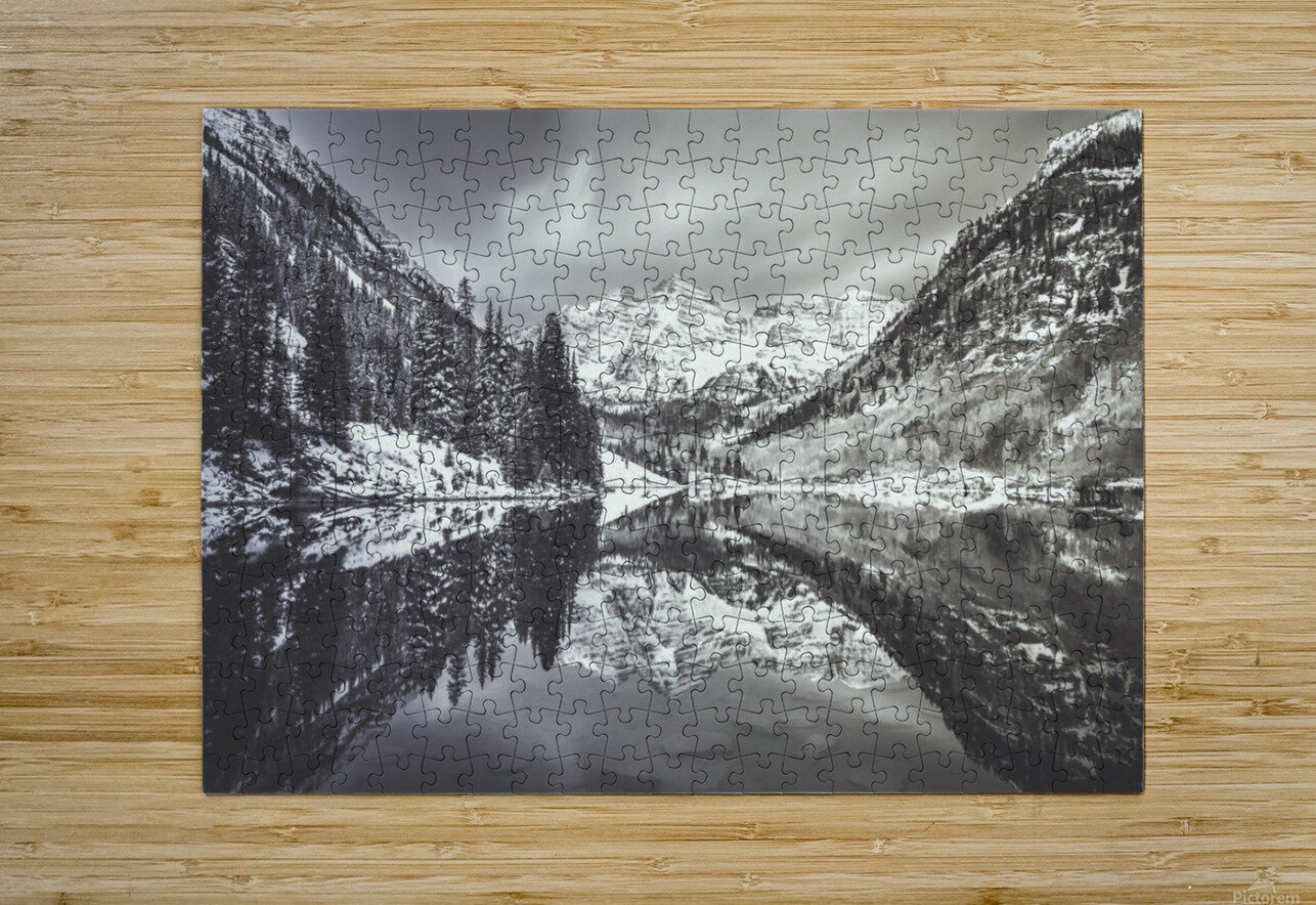 B&W Maroon Bells   HD Metal print with Floating Frame on Back
