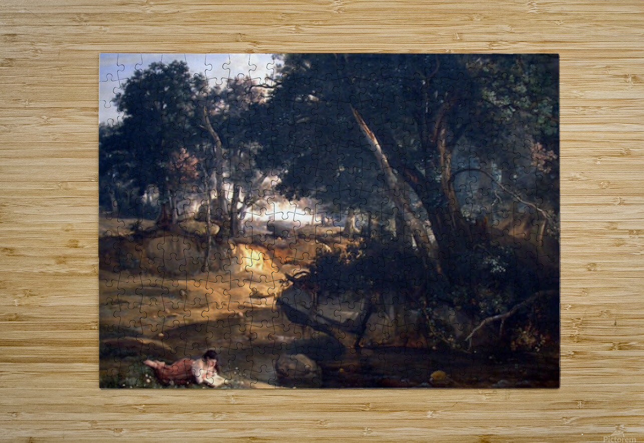 Forest of Fontainebleau by Corot  HD Metal print with Floating Frame on Back