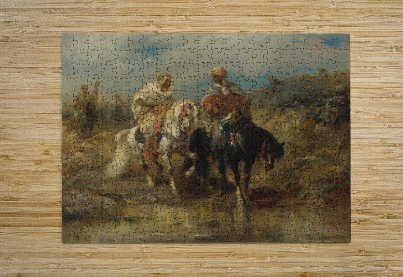 Arab horsemen raiding  HD Metal print with Floating Frame on Back