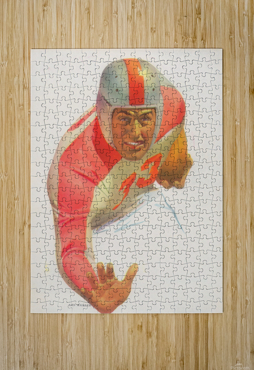 Lon Keller Football Art Reproduction_Best Vintage Football Art_Football Art Print Digitally Restored  HD Metal print with Floating Frame on Back
