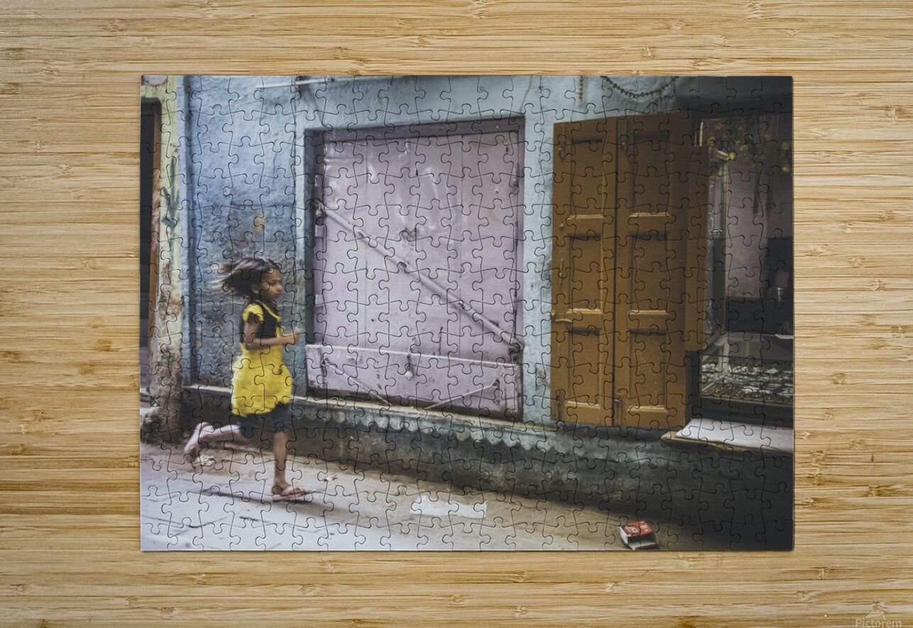 Varanasi Window - The girl  HD Metal print with Floating Frame on Back