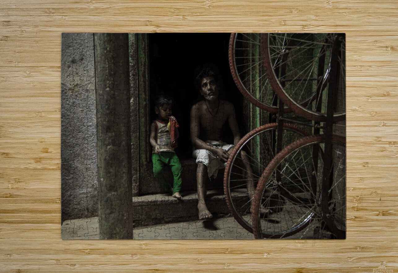 Varanasi father and child  HD Metal print with Floating Frame on Back