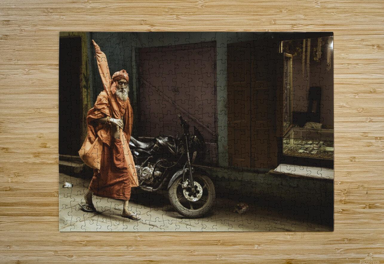 Varanasi Window - Pilgrim  HD Metal print with Floating Frame on Back