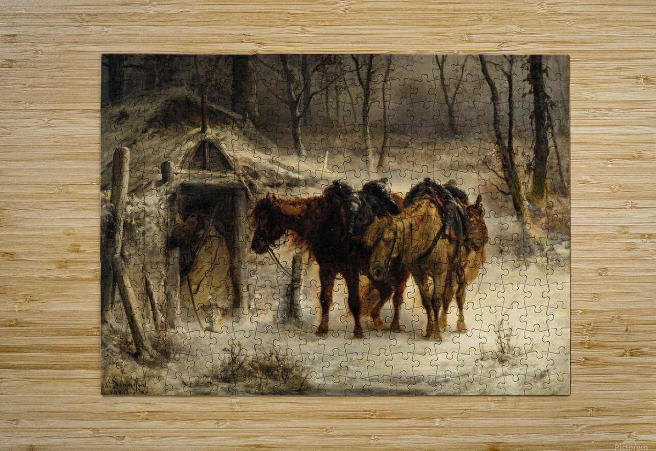 Resting horses  HD Metal print with Floating Frame on Back