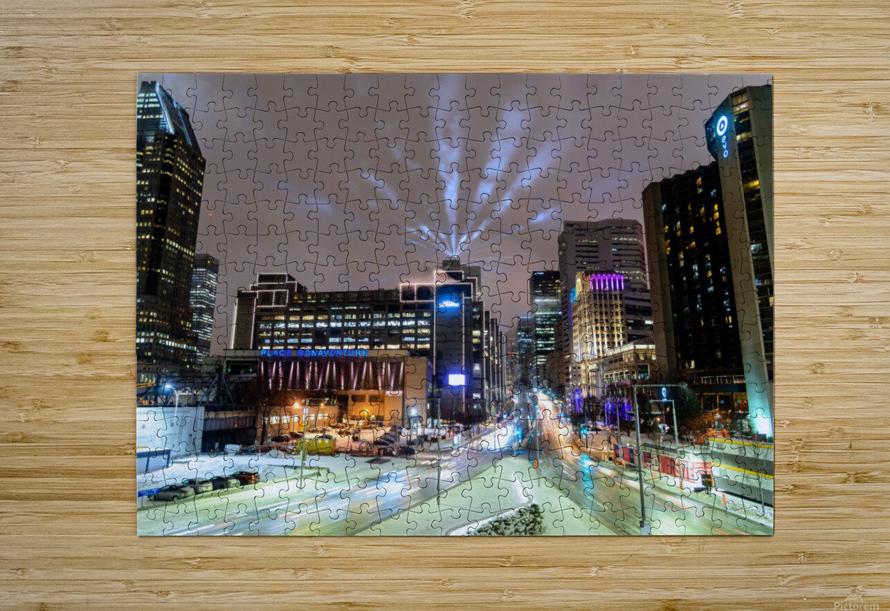 Close up city buildings at night  HD Metal print with Floating Frame on Back