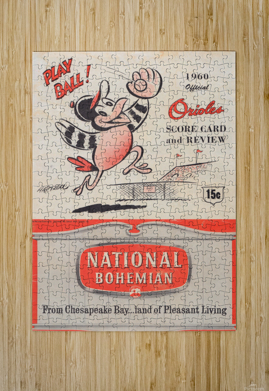 1960 baltimore orioles baseball score card review national bohemian beer ad poster  Impression métal HD avec cadre flottant sur le dos