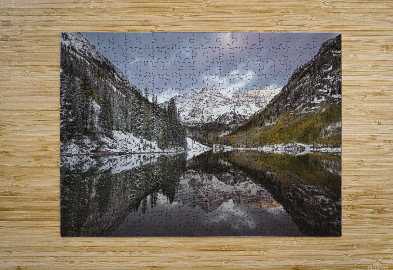 Maroon Bells full color  HD Metal print with Floating Frame on Back