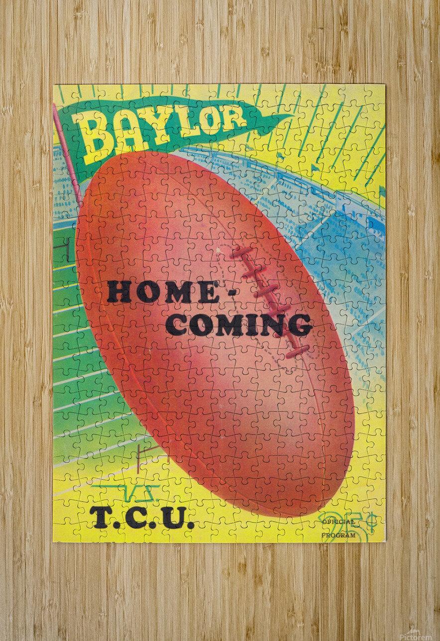 1935 College Football Program Cover Art Poster  Baylor Bears vs. TCU Football Art Print Posters  HD Metal print with Floating Frame on Back