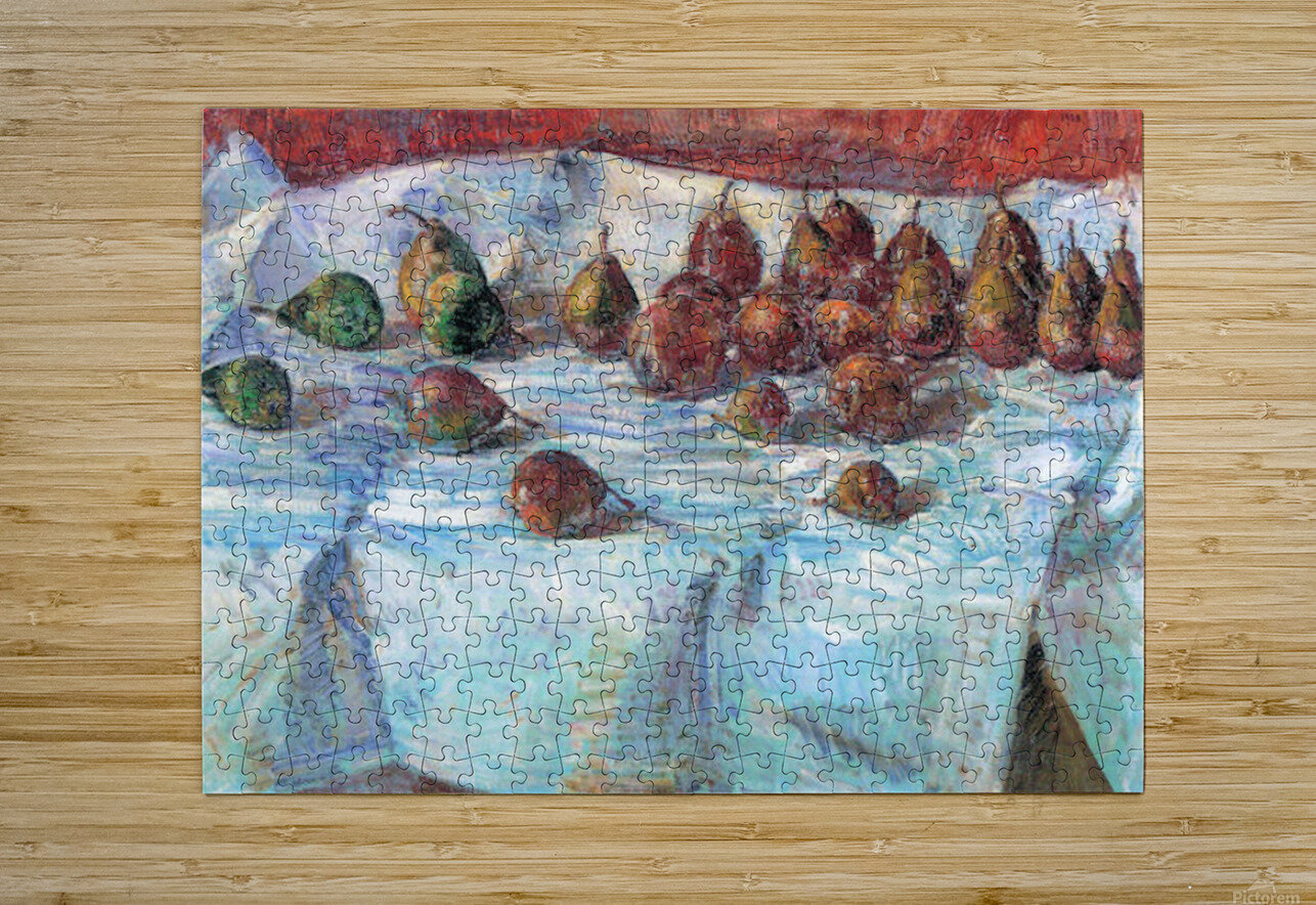 Winter Sickle Pears  by Hassam  HD Metal print with Floating Frame on Back