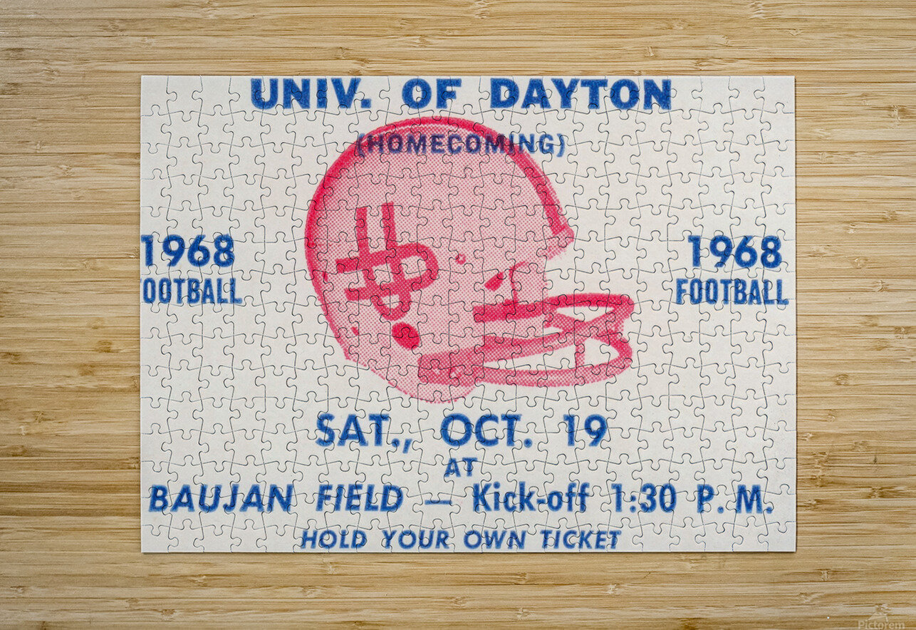Vintage Dayton Flyers Football Ticket Poster  HD Metal print with Floating Frame on Back