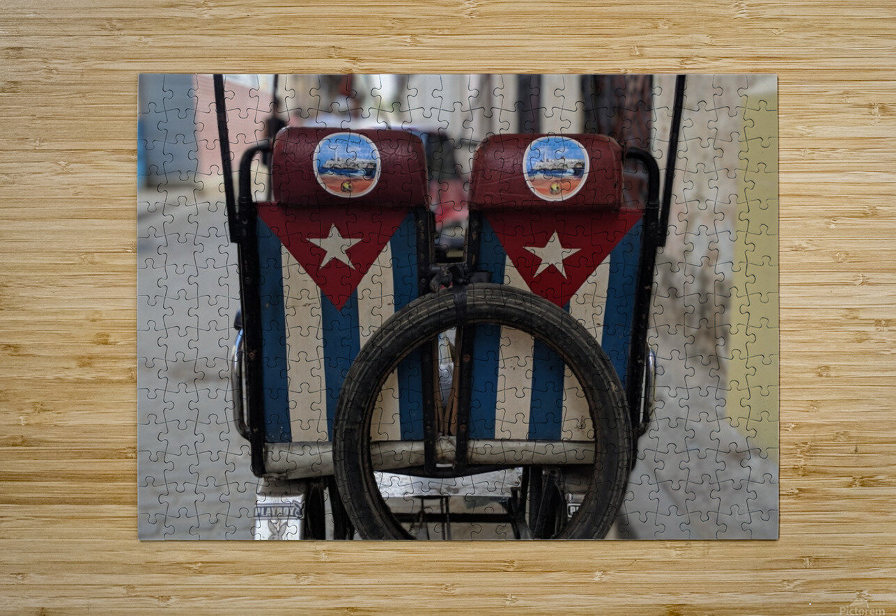 Cuban Bicycle Taxi  HD Metal print with Floating Frame on Back