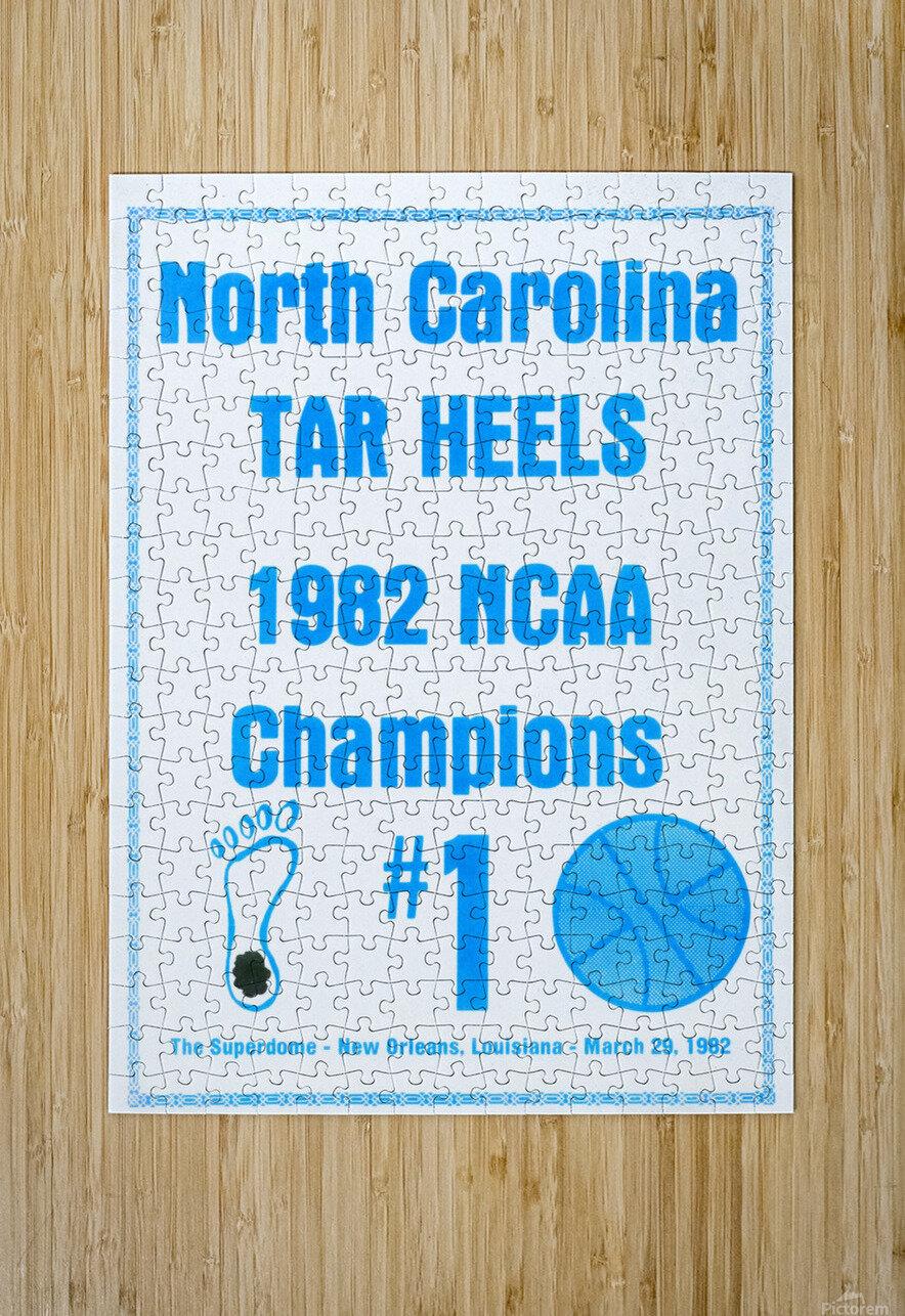 1982 North Carolina Tar Heels NCAA Champions Poster Reproduction Art  HD Metal print with Floating Frame on Back