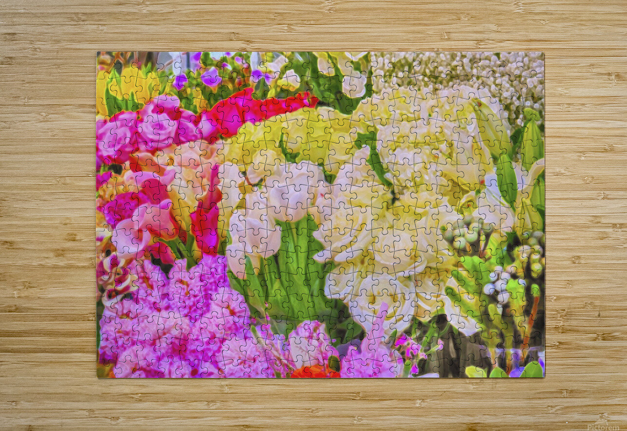 Abstract colorful flowers  HD Metal print with Floating Frame on Back