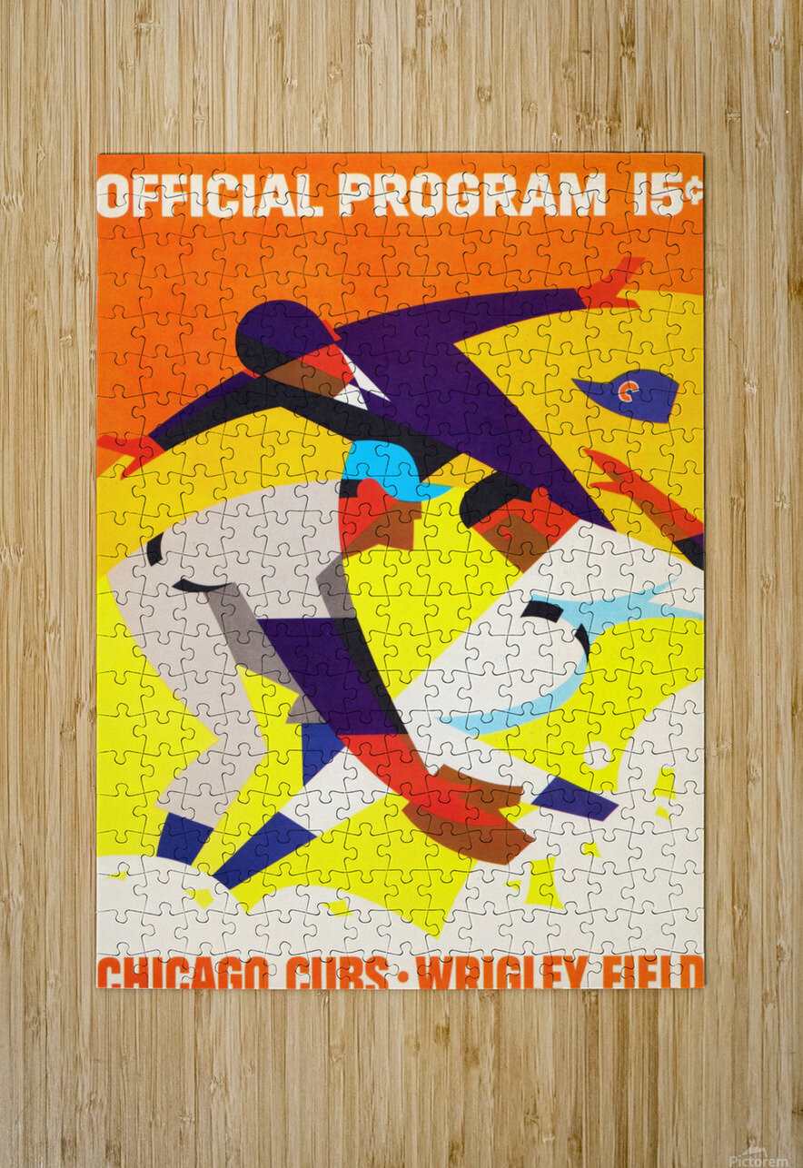 1967 Chicago Cubs Wrigley Field Program Poster_Vintage Cubs Art  HD Metal print with Floating Frame on Back
