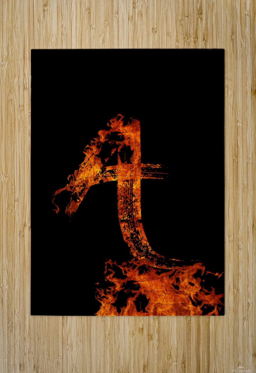 Burning on Fire Letter A  HD Metal print with Floating Frame on Back