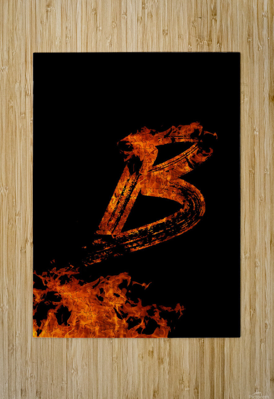 Burning on Fire Letter B  HD Metal print with Floating Frame on Back
