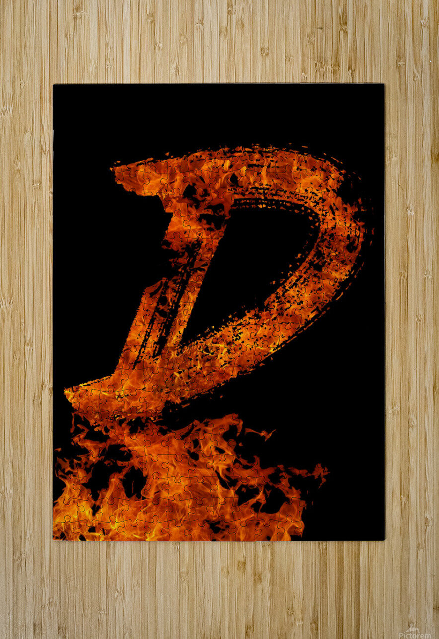 Burning on Fire Letter D  HD Metal print with Floating Frame on Back