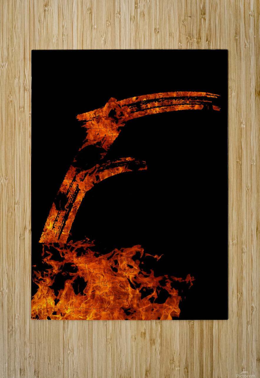 Burning on Fire Letter F  HD Metal print with Floating Frame on Back