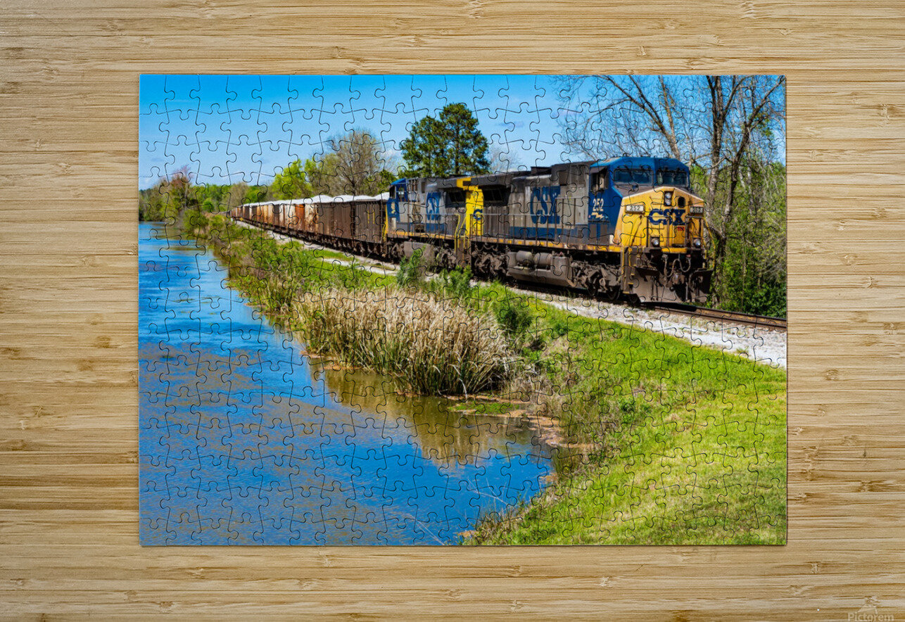 CSX Train along the Augusta Canal GA 02953  HD Metal print with Floating Frame on Back