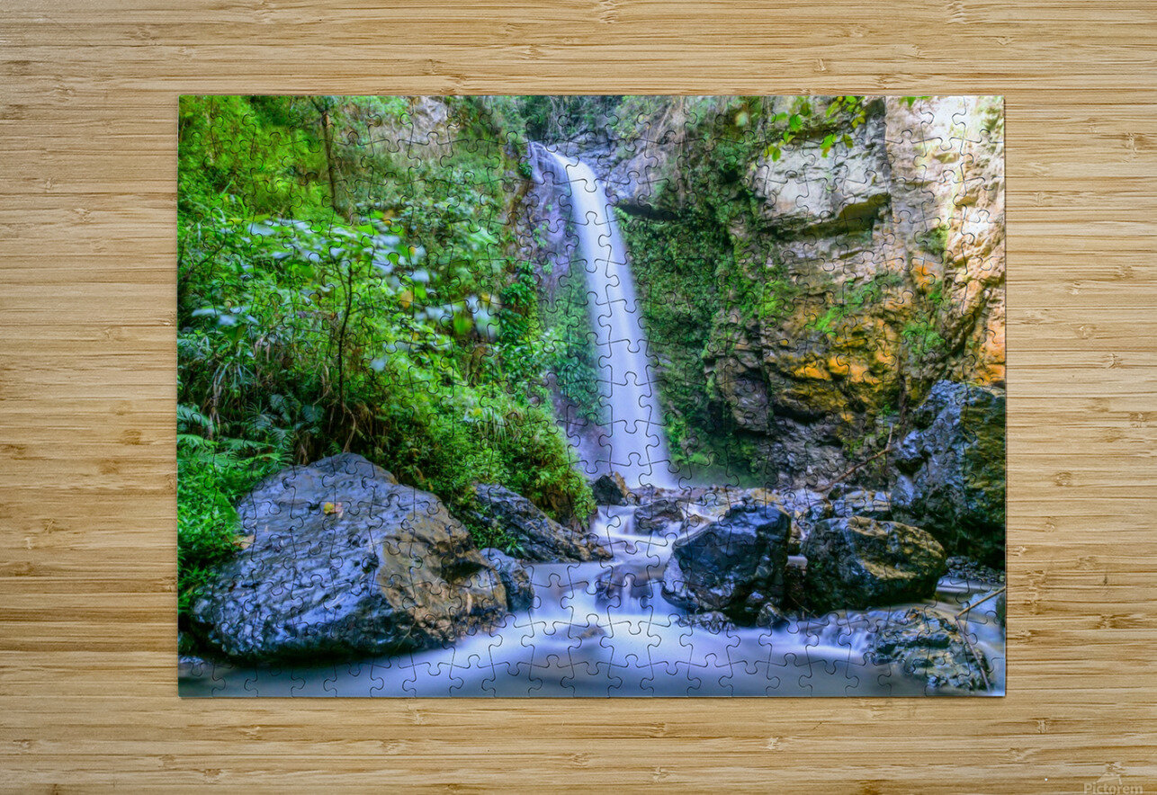 Waterfall in the forest  HD Metal print with Floating Frame on Back
