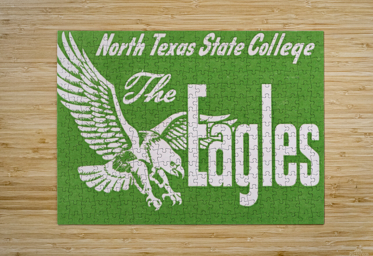north texas state college unt eagles vintage poster college art collection  HD Metal print with Floating Frame on Back