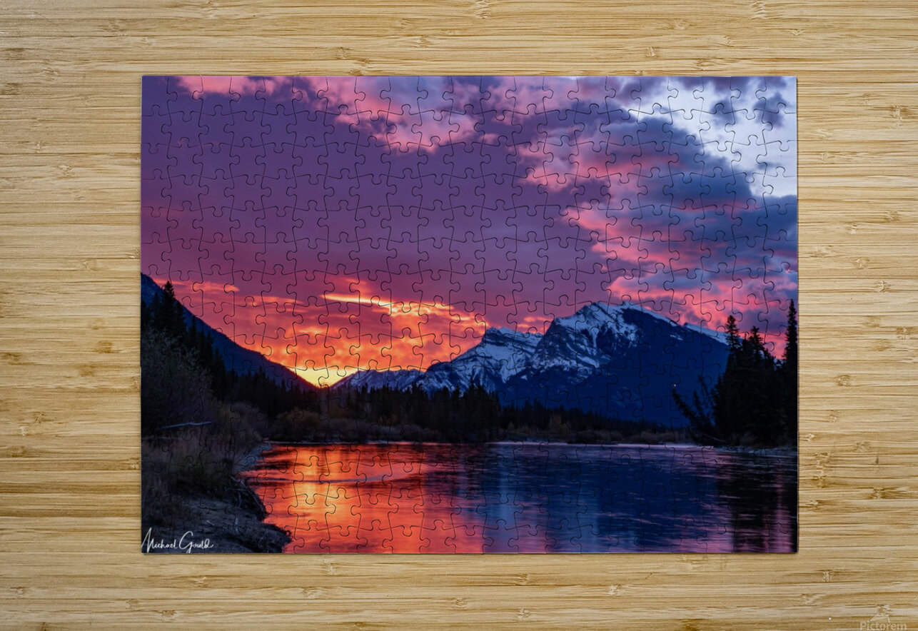 Bow River Sunrise East  HD Metal print with Floating Frame on Back