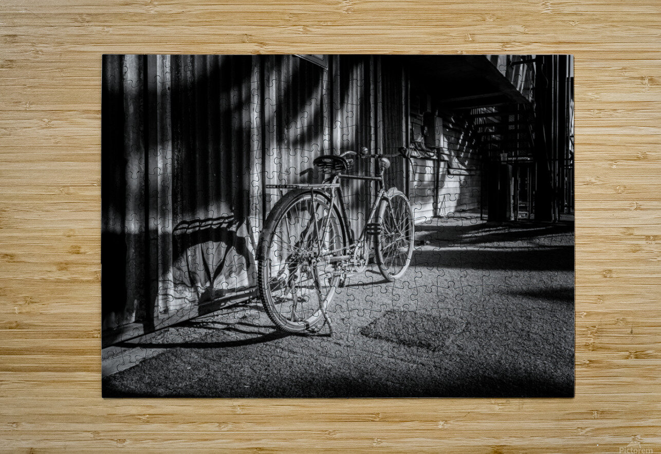 Bicycle parked against the building black and white  HD Metal print with Floating Frame on Back