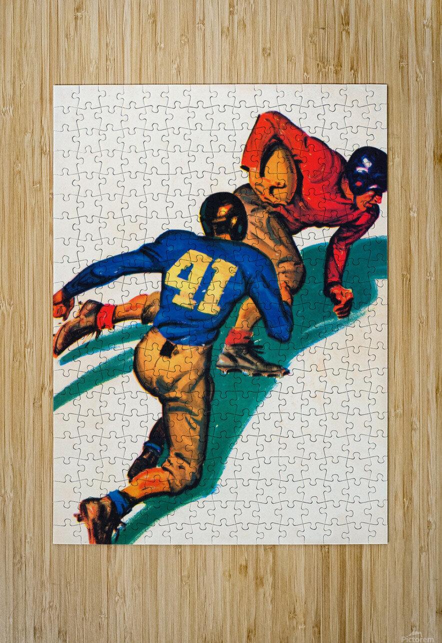 vintage football poster  HD Metal print with Floating Frame on Back