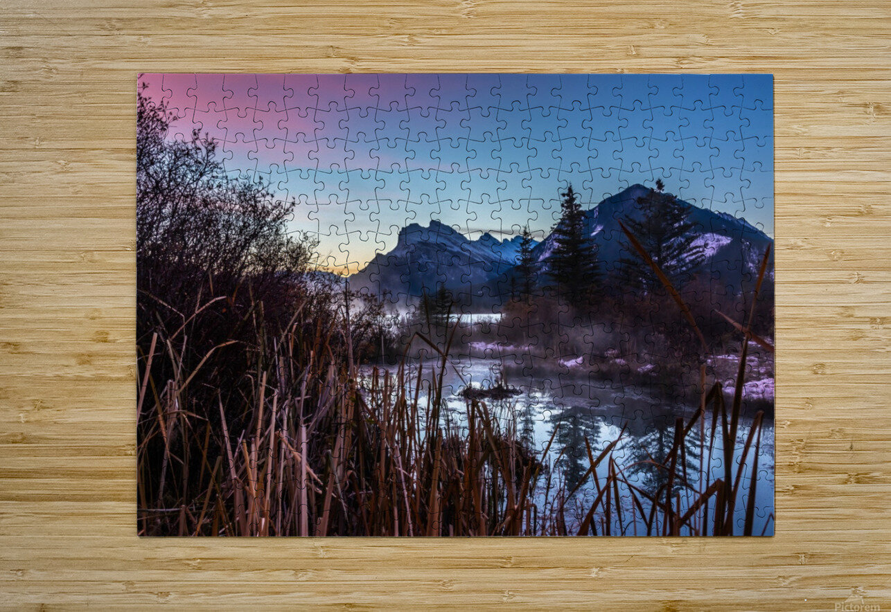 Vermilion Lakes Mist  HD Metal print with Floating Frame on Back