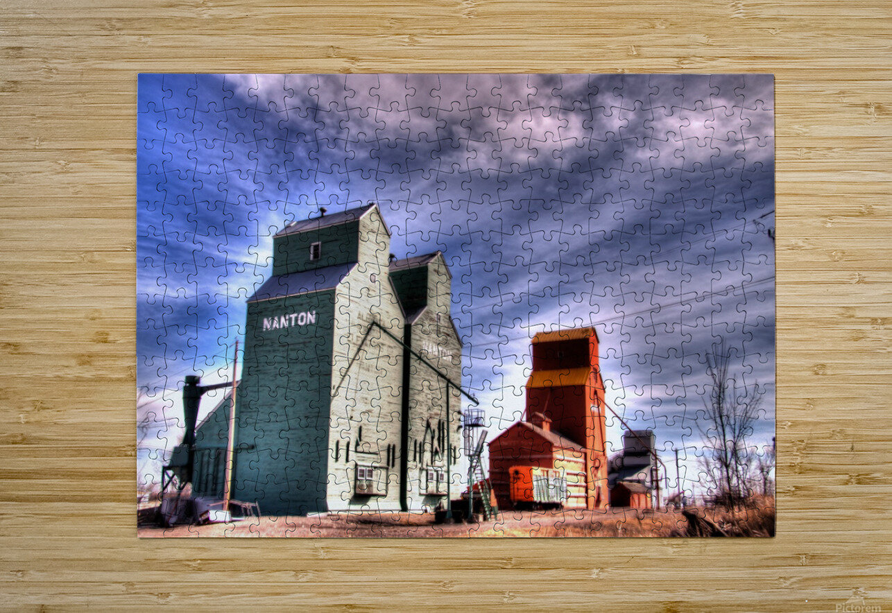 Grain Elevators in Nanton Alberta  HD Metal print with Floating Frame on Back