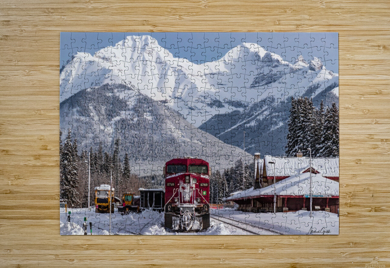 Banff Train Station  HD Metal print with Floating Frame on Back
