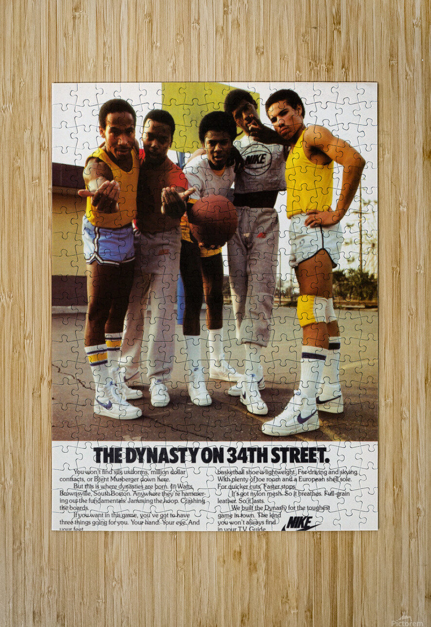 1981 vintage nike shoe ads dynasty on 34th street retro basketball poster  HD Metal print with Floating Frame on Back