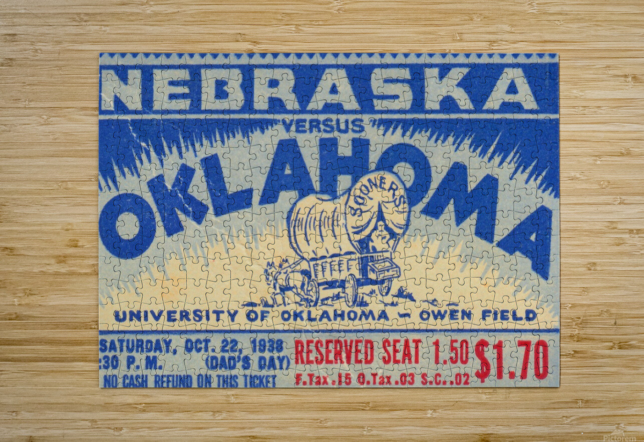 oklahoma football metal sign sooners ticket stub collection row 1 row one vintage sports art brand  HD Metal print with Floating Frame on Back