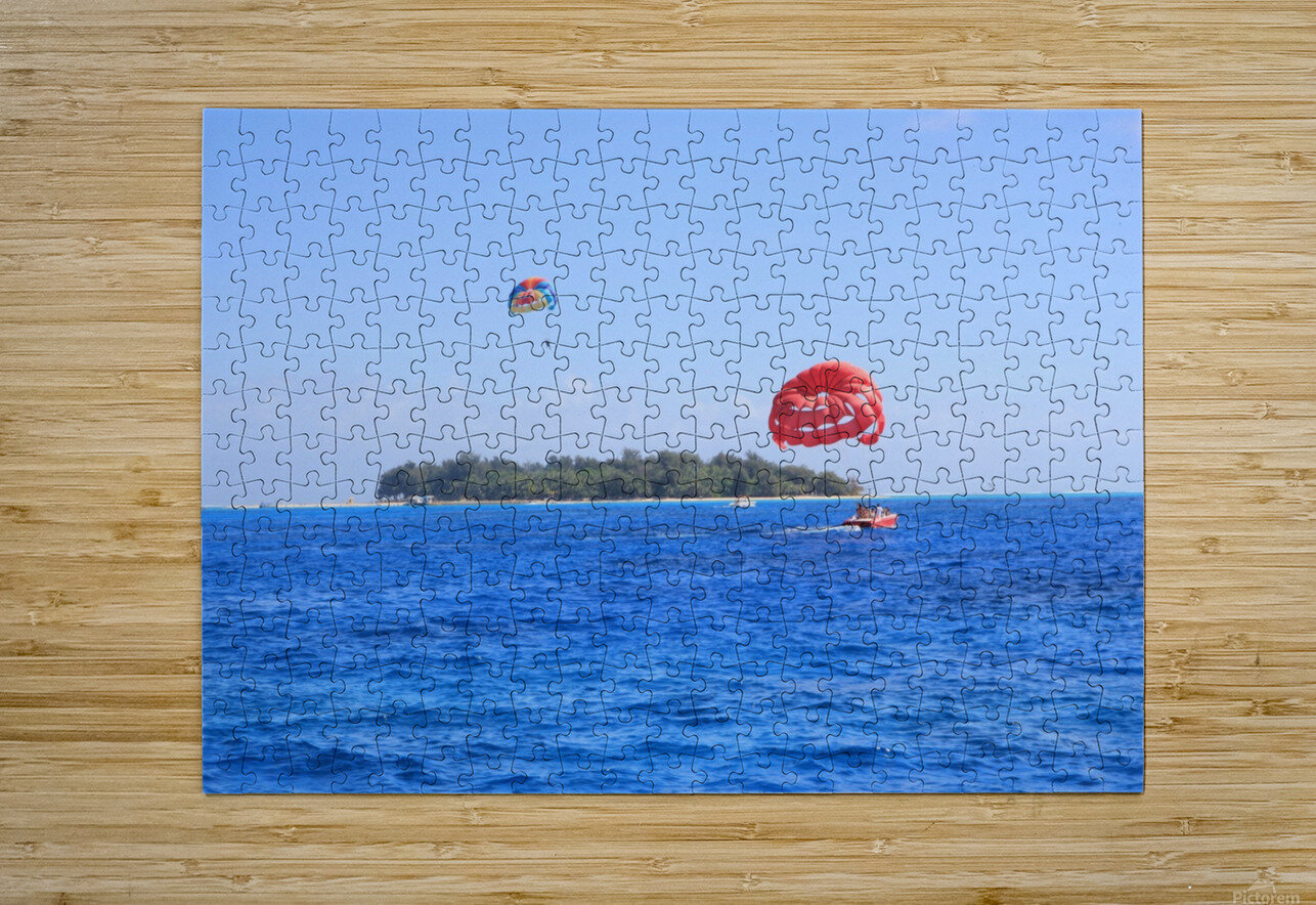 Parasailing  HD Metal print with Floating Frame on Back