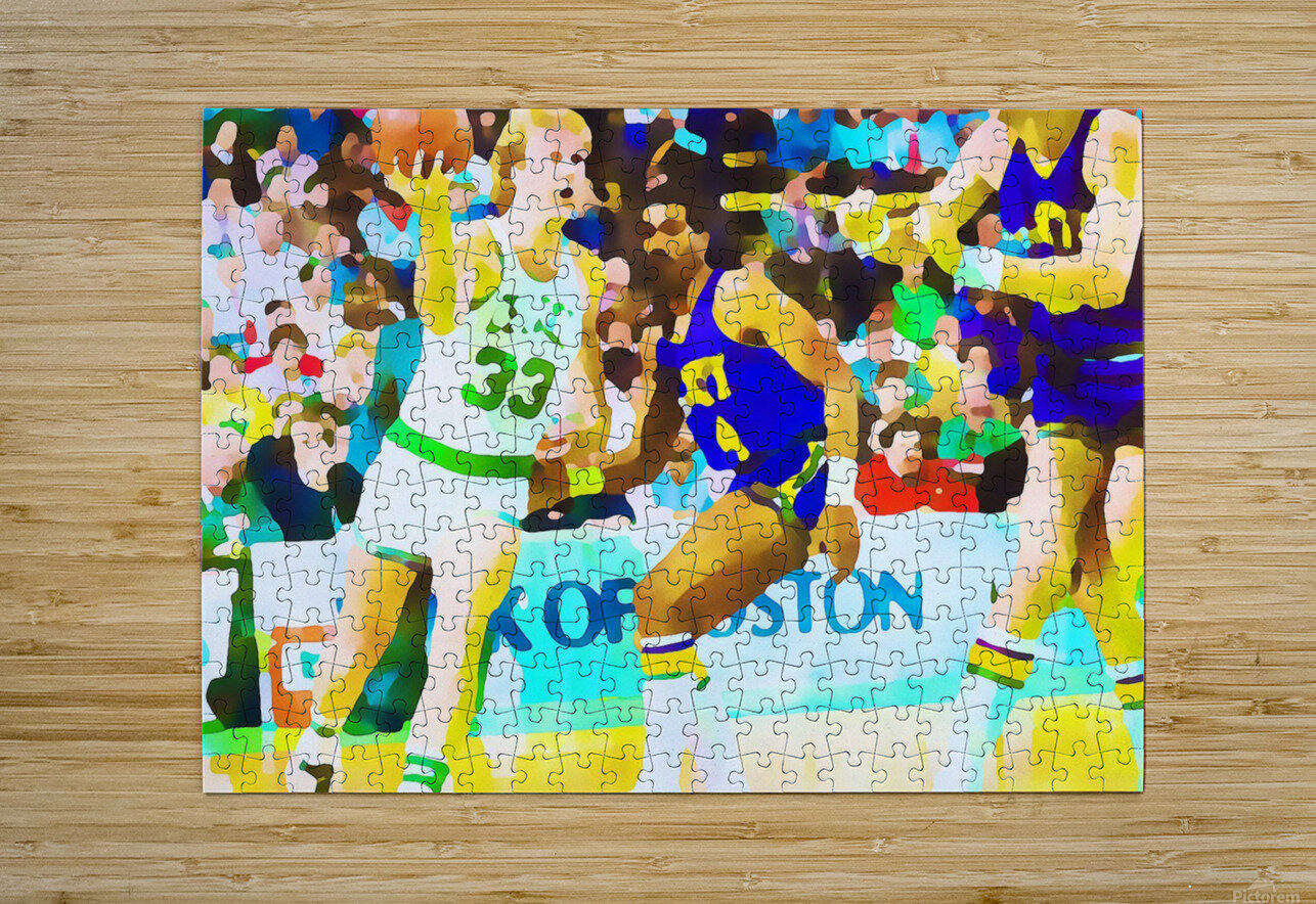 Larry Bird Digital Watercolor  HD Metal print with Floating Frame on Back