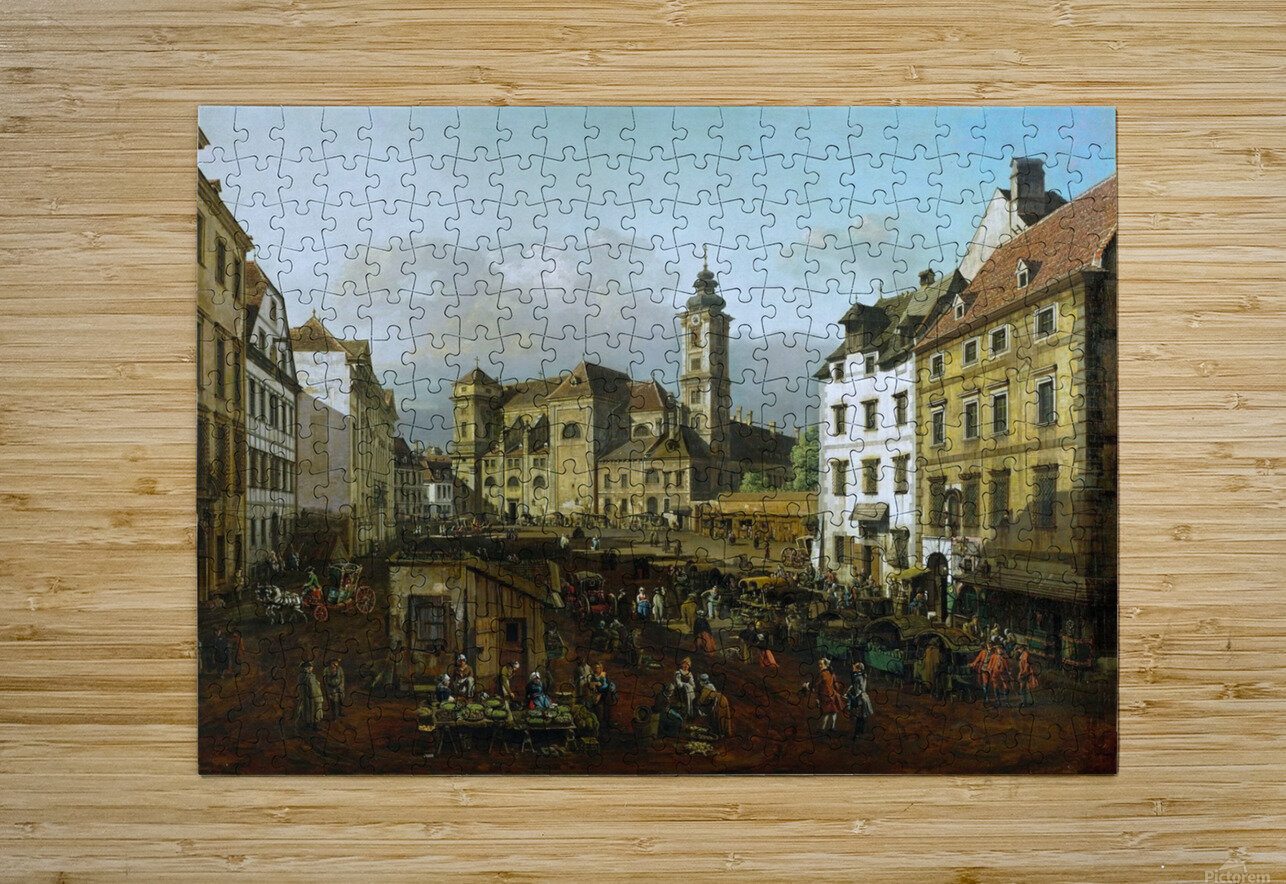 Market outside church  HD Metal print with Floating Frame on Back
